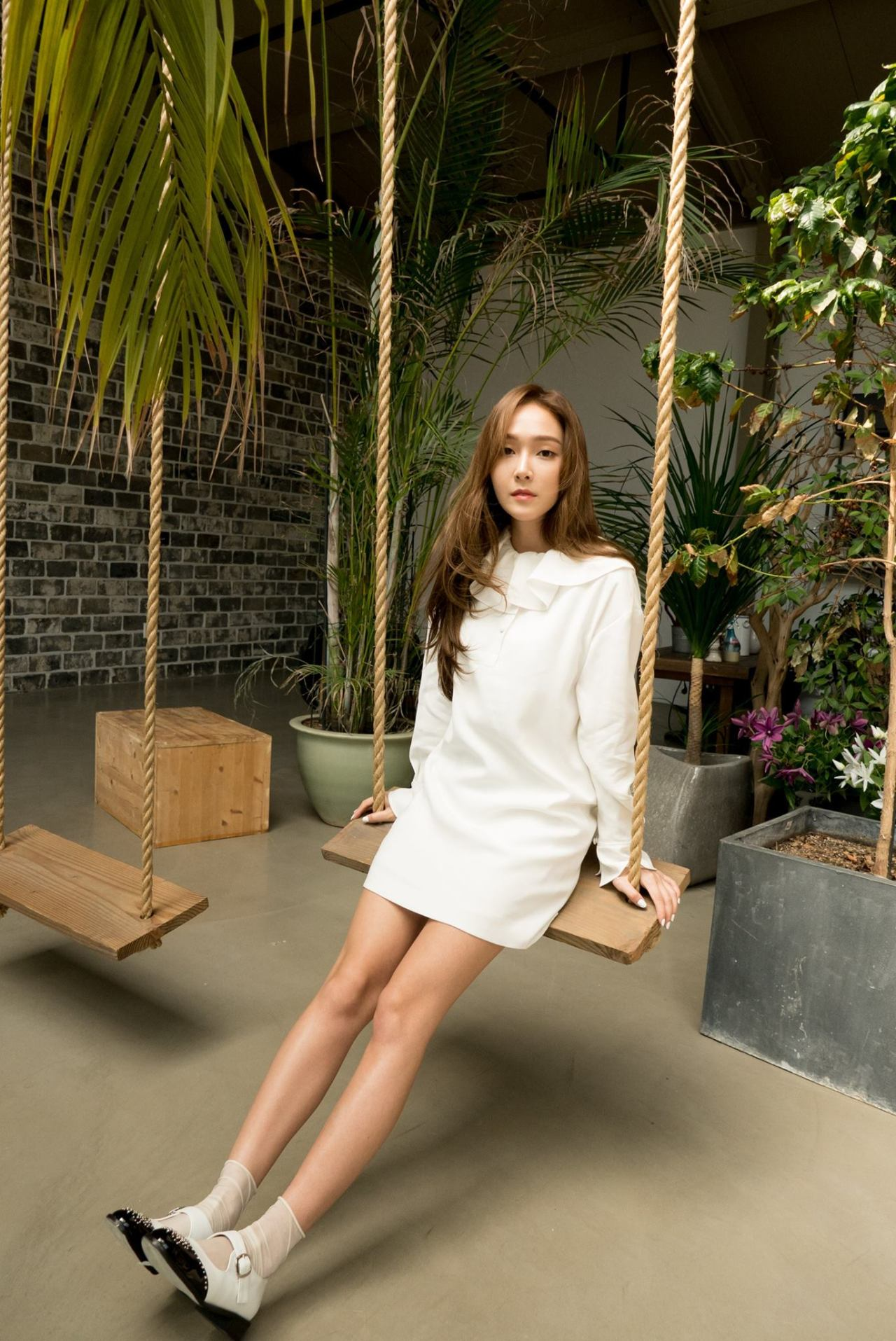 Jessica Jung on a swing
