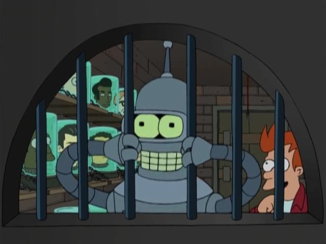 Робот Бендер за решеткой. Futurama.