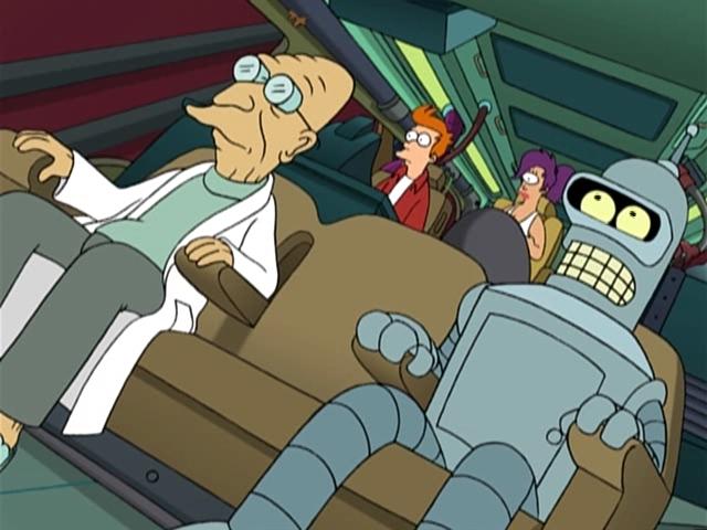 Команда Межпланетного Экспресса на борту космического корабля. Futurama.