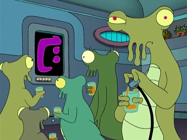 Алкогольная вечеринка зеленых инопланетян. Futurama.