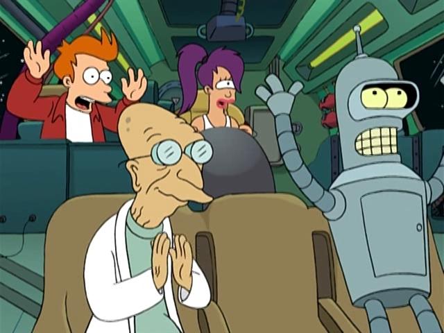 Фрай, Лила, профессор Фарнсворт и Бендер в кабине космического корабля. Futurama.