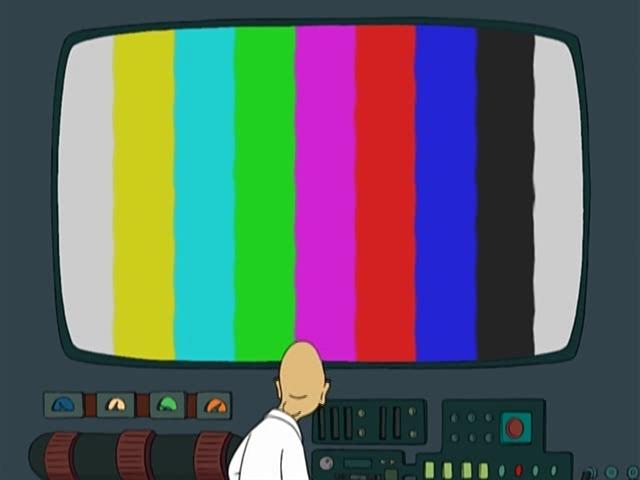 Хьюберт Фарнсворт и огромный монитор будущего. Futurama.