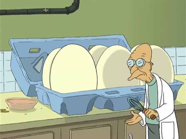 Профессор Фарнсворт готовит яичницу из гигантских яиц. Futurama.
