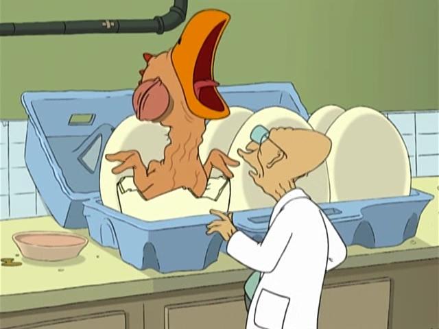 Сюрприз на кухне - из яйца вылупился гигантский цыпленок. Futurama.