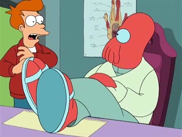 Фрай на осмотре у доктора Зойдберга. Futurama.